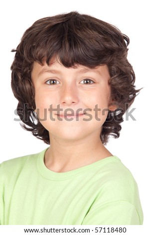 Funny child with green t-shirt isolated on white background - stock photo