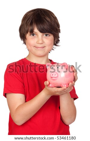 Funny child with pink piggy-bank isolated on white background