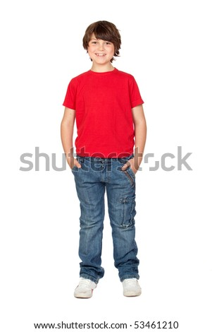 Funny child with red shirt isolated on white background - stock photo