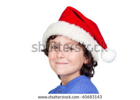 Funny child with Santa hat isolated on white background