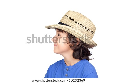 Funny child with straw hat isolated on white background - stock photo