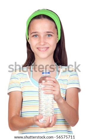 Funny child with water bottle isolated on white background - stock photo