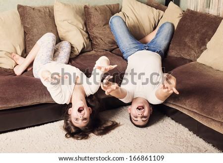 funny children indoor - stock photo