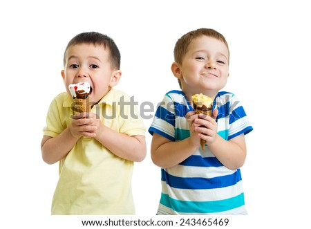funny children kids little boys eat ice-cream isolated on white - stock photo