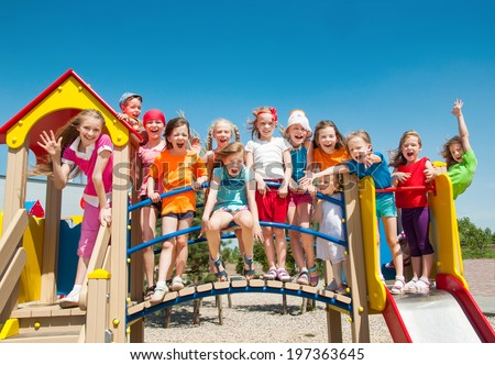 Funny children outdoors - stock photo