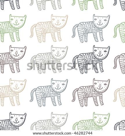 Funny children's cartoon seamless pattern - stock photo