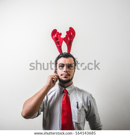 funny christmas business man on white background