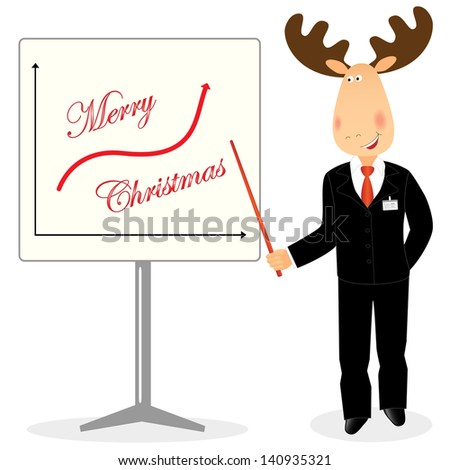 Funny christmas deer businessman shows graph merry christmas is coming