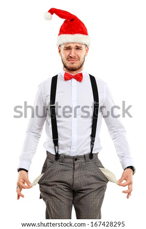 funny christmas man over white background - stock photo