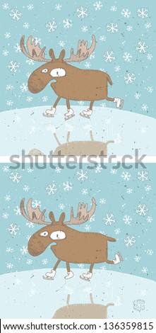 Funny Christmas Moose Differences Visual Game for children. Task: Find ten differences! Solution is in hidden layer! (for vector see image 117460354) - stock photo