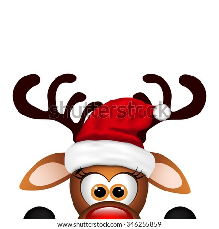 Funny Christmas Reindeer  - stock photo
