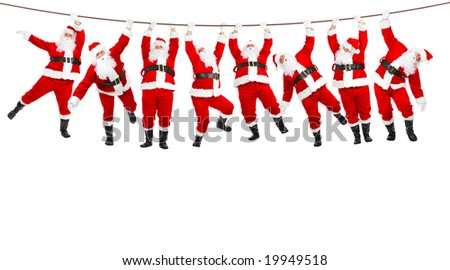 Funny Christmas Santa. Isolated over white background - stock photo