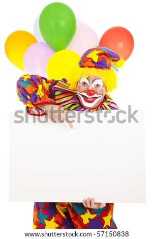 Funny circus clown holding a blank white card, ready for your message.  Isolated. - stock photo