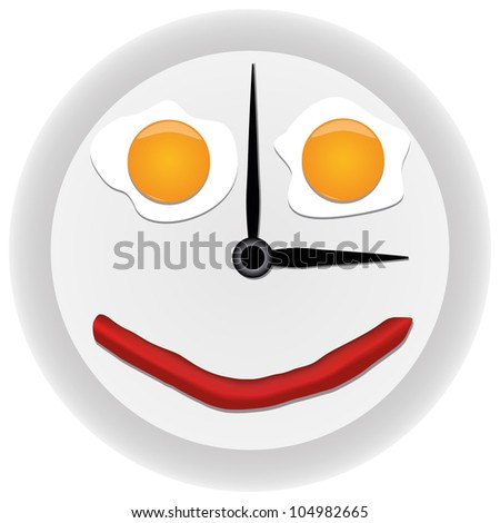 Funny clock with scrambled eggs - stock photo