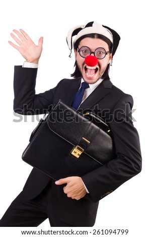 Funny clown businessman isolated on the white background - stock photo
