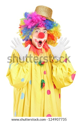 Funny clown gesturing with hands isolated on white background