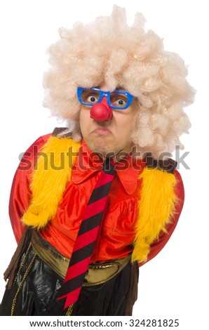 Funny clown in fun concept isolated on white
