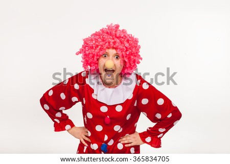 Funny clown in pink wig