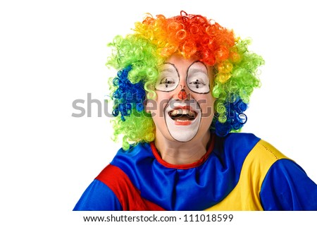 Funny clown. Isolated over white - stock photo