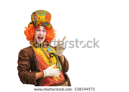 Funny clown on a white background. Claiming your product