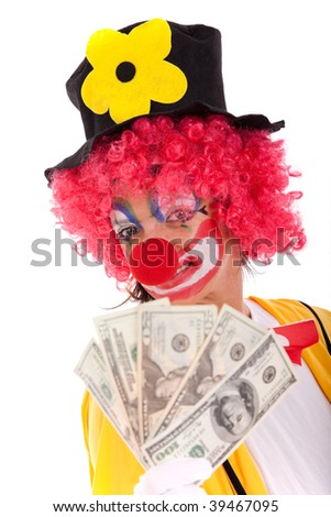 funny clown showing some dollar bills (isolated on whites) - stock photo