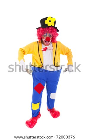 funny clown showing some dollar bills (isolated on whites)