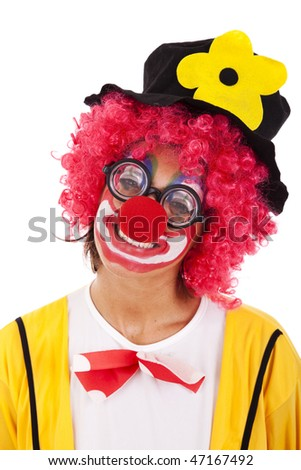 Funny clown standing over a white background - stock photo