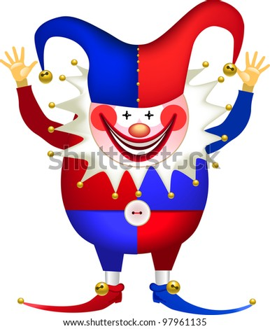 Funny Clown with his hands up, april fools' day, rasterized versions - stock photo