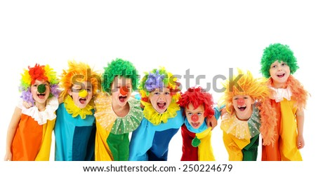 Funny clowns at the party - stock photo