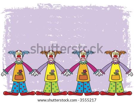 funny clowns on purple background (raster) - cartoon illustration - stock photo
