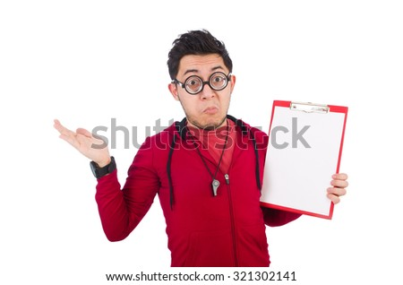 Funny coach with whistle and diary isolated on white - stock photo