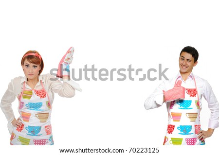 Funny collage with cooking couple - man in apron and one chef woman. isolated on white background - stock photo