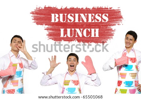Funny collage with three cooking men in apron and text business lunch. isolated on white background