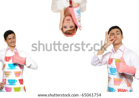 Funny collage with two cooking man in apron and one crazy chef woman. isolated on white background