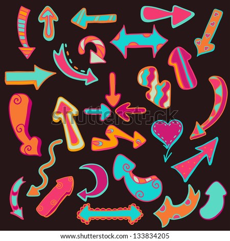 Funny colored arrows on dark background. Abstract design logo. Logotype art - raster version - stock photo