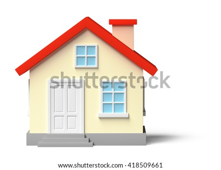 Funny colorful house with red roof, yellow walls and white door and windows isolated on white, 3d illustration