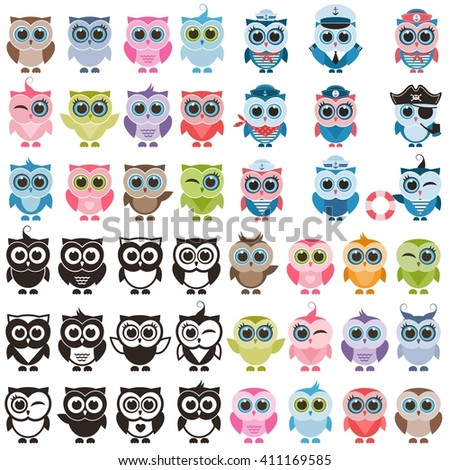 Funny colorful owls and owlets set. Raster version - stock photo