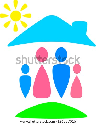 funny colorful sign with family silhouette - stock photo