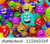 Funny colorful smiles. Positive emotions - stock vector