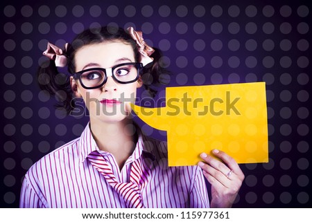 Funny Comical Business Woman In Dweeb Glasses Communicating A Message Through Dialog Speech Bubble - stock photo