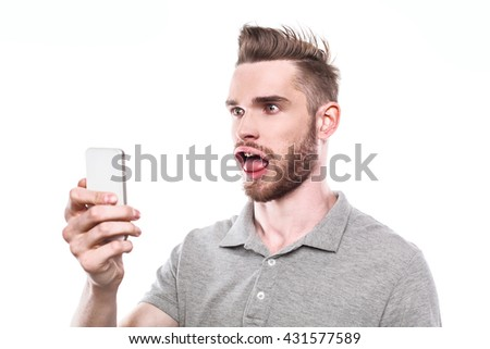 Funny concept for man with windblown mouth. Man using mobile phone. Isolated on white background