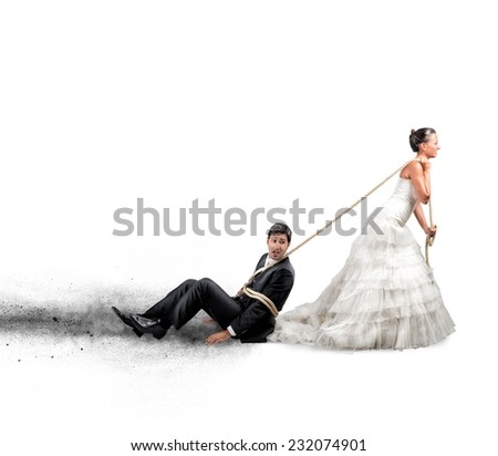 Funny concept of bound and trapped by marriage - stock photo