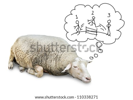 Funny concept of cute sheep with lots of wool, isolated on white counting hand drawn human stickfigures jumping over a fence to fall asleep. - stock photo
