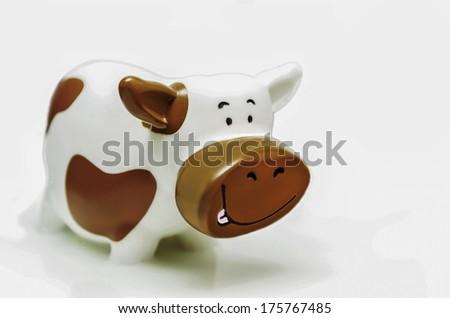 Funny Cow Inside Milk - stock photo