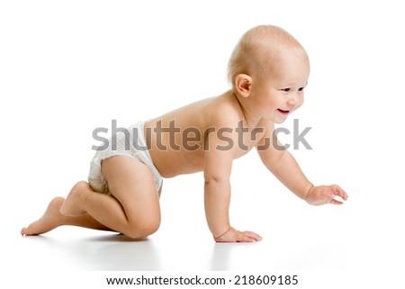 funny crawling baby boy isolated on white background - stock photo