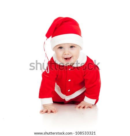 funny crawling Santa claus baby boy - stock photo