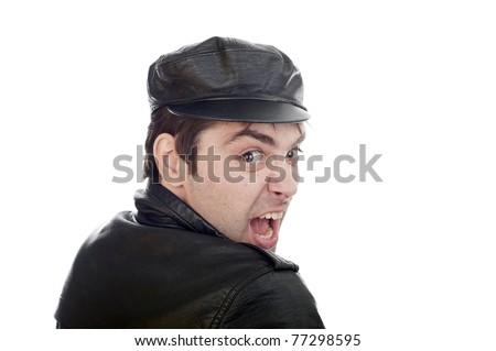 Funny crazy man on isolated white background - stock photo