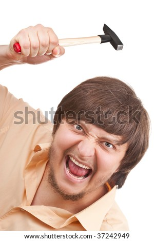 Funny crazy shouting guy with a hammer - stock photo