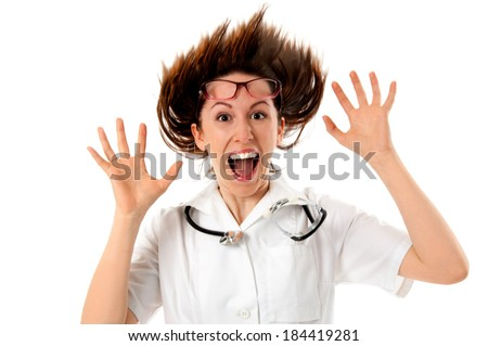 Funny crazy young doctor - stock photo