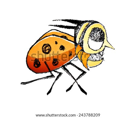 Funny cute bug running hand draw raster illustration in vivid warm colors against white background. - stock photo